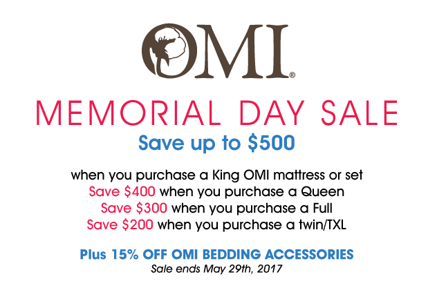 OMI Memorial Day Sale text